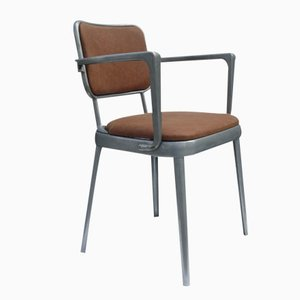 British Leather and Aluminum Armchair, 1950s