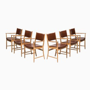 Danish Oak and Leather Armchairs by Kai Lyngfeldt Larsen for Søren Willadsen, Set of 6