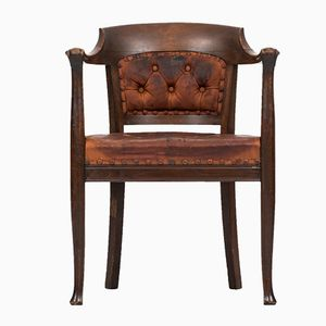 Dark Stained Oak and Brown Leather Armchair, 1920s