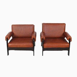 Mid-Century Cognac Leather Armchairs, Set of 2