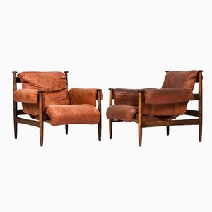 Mid-Century Easy Chairs with Foot Stool by Eric Merthen, Set of 3
