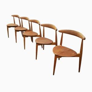 Oak Heart Chairs by Hans J. Wegner for Fritz Hansen, Set of 5