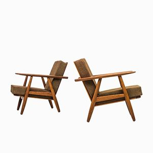 Danish Cigar Easy Chairs by Hans J. Wegner for Getama, 1950s, Set of 2