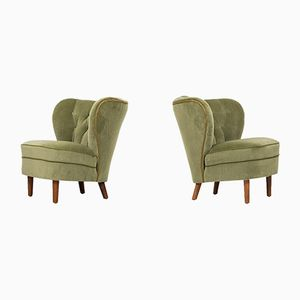 Green Velvet Easy Chairs, 1940s