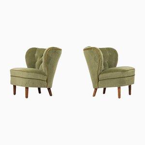 Grüne Sessel aus Samt, 1940er