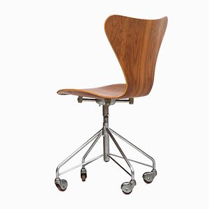 Teak 3117 Office Chair by Arne Jacobsen for Fritz Hansen