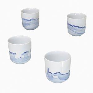 Tide Mugs aus der Blue Sunday Series von Anna Badur, 4er Set
