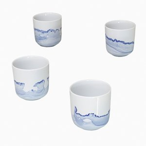 Tide Mugs from the Blue Sunday Series by Anna Badur, Set of 4