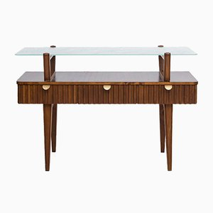 Swedish Mid-Century Birch, Brass and Glass Console Table