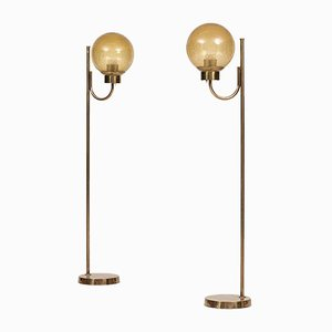 Swedish Brass and Glass Floor Lamps from Bergboms, Set of 2