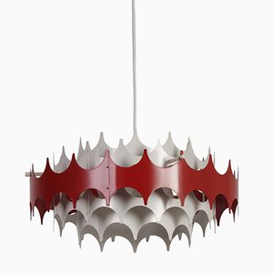 White & Red Metal Pendant Lamp from Doria, 1960s