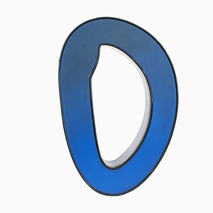 Mid-Century Blue Illuminated Letter O