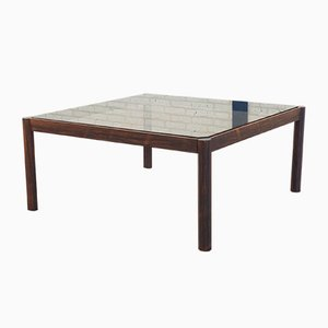 Mid-Century Rosewood & Smoked Glass Coffee Table