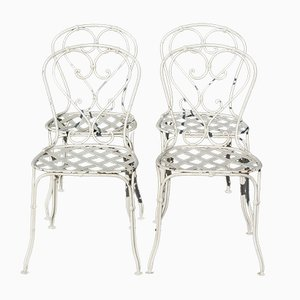 French Wrought Iron Garden Chairs, 1860s, Set of 4