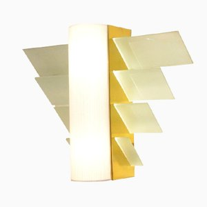 XL Modernist French Golden Metal & Glass Wall Sconce, 1930s