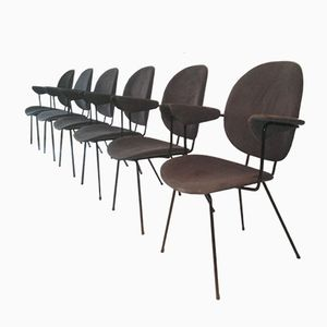 Dutch 202 Kembo Desk Chairs from Gispen, 1950s, Set of 6