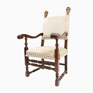 Antique Hand Carved Armchair, 1800s