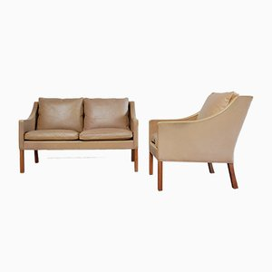 Vintage 2208 & 2207 Brown Sofa & Easy Chair by Børge Mogensen for Fredericia
