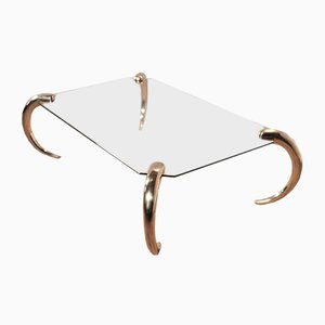 Glass U0026 Brass Coffee Table From Maison Jansen, 1970s