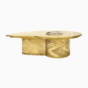 European Brass and Polished Ammonite Coffee Table from Marc D'haenens, 1970s