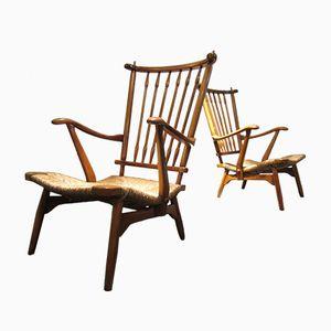 Vintage Sessel aus Nussholz, 2er Set