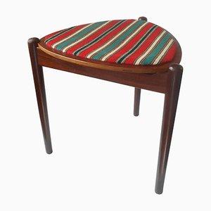 Danish Teak & Wool Stool or Side Table by Hans Olsen for N. A. Jorgensen Moebelfabrik, 1950s