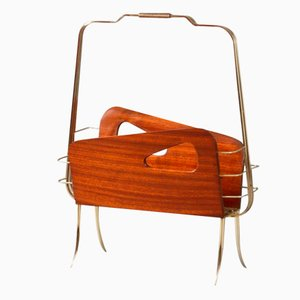 Italian Mahogany & Brass Newspaper Rack by Cesare Lacca, 1950