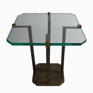 Tavolino di servizio in vetro e ottone di Peter Ghyczy, Germania, anni '70