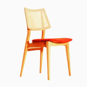 Spanish Beech Chair with Small Dot Fabric, 1960s