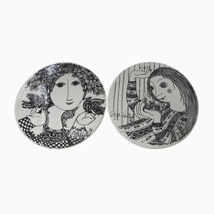 Limited Edition Wall Plaques by Bjorn Wiinblad for Nymølle, Denmark, 1976, Set of 2