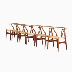 Danish Oak Wishbone Dining Chairs by Hans J. Wegner for Carl Hansen, 1950s, Set of 6
