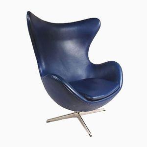 Dänischer Egg Chair in Blau von Arne Jacobsen für Fritz Hansen, 1950er