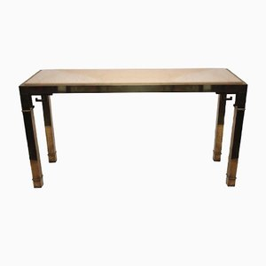Table Console en Laiton et en Travertine, France, 1970s
