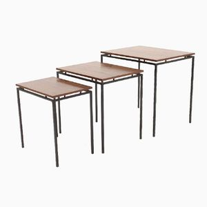 Minimalist Iron & Teak Nesting Tables, 1950s, Set of 3