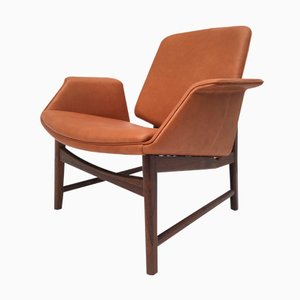 Dänischer Sessel aus Palisander & Leder von Hans Olsen, 1950er