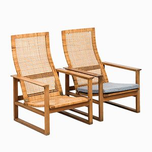 BM-2254 Oak Easy Chairs by Børge Mogensen for Fredericia, 1950s, Set of 2