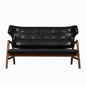 Oak & Leather Sofa by Magnus Stephensen for A.J. Iversen, 1955