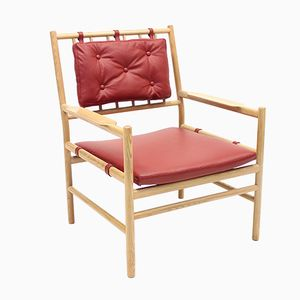 Scandinavian Safari Style Peter Easy Chair in Oak & Leather by Arne Norell, 1970s