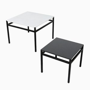 Minimalist Black & White Side Tables, 1960s, Set of 2