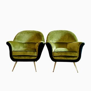 Mid-Century Italian Lime Green Velvet Armchairs, Set of 2