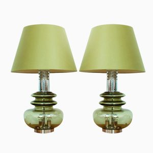 German Glass & Chrome Table Lamps from Doria Leuchten, 1960s, Set of 2