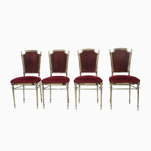 Italian Style Solid Brass Chairs, 1959, Set of 4
