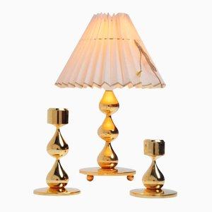 Danish Lamp & Candlesticks Set by Hugo Asmussen, 1960s
