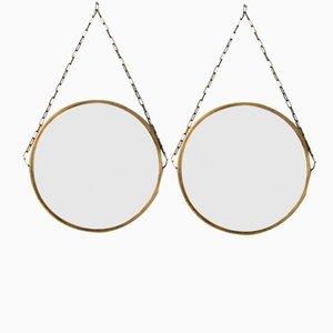 Swedish Brass & Teak Mirror, 1960s