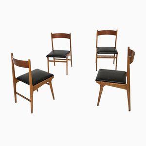 Vintage Nussholz Esszimmerstühle, 1960er, 4er Set