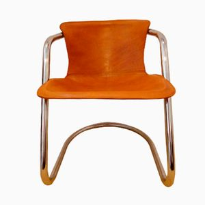 Italian Brown Leather Dining Chairs by Willy Rizzo, 1970s, Set of 4