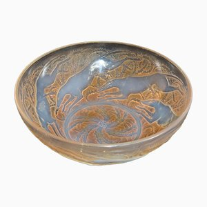 French Opaline Glass Bowl with Hunting Dogs by René Lalique for VDA, 1921