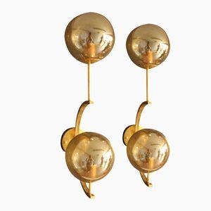 Italian Brass & Golden Murano Glass Sconces, 1980s, Set of 2
