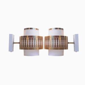 Dänische Vintage Acryl & Messing Wandlampen von Bent Karlby für Lyfa, 2er Set
