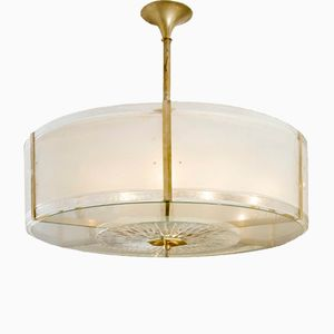 Große Vintage Messing & Glas Deckenlampe